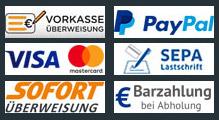 Zahlungsarten: Vorkasse, PayPal, Kreditkarte,  Lastschrift, Sofortüberweisung, Barzahlung