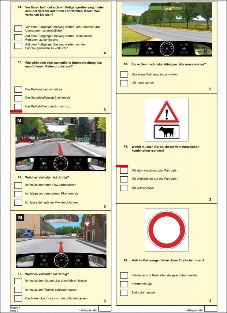 Fahrschule: Führerschein Fragebogen Klasse B